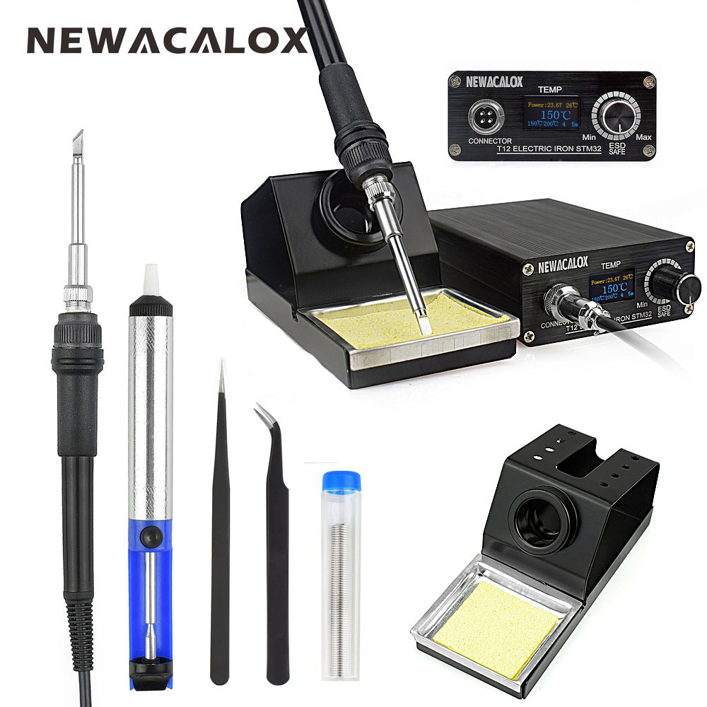 NEWACALOX EU OLED 220V 96W T12 Soldering Station Temperature Controller Electric Soldering Iron Heating Rework Welding Tool Kit