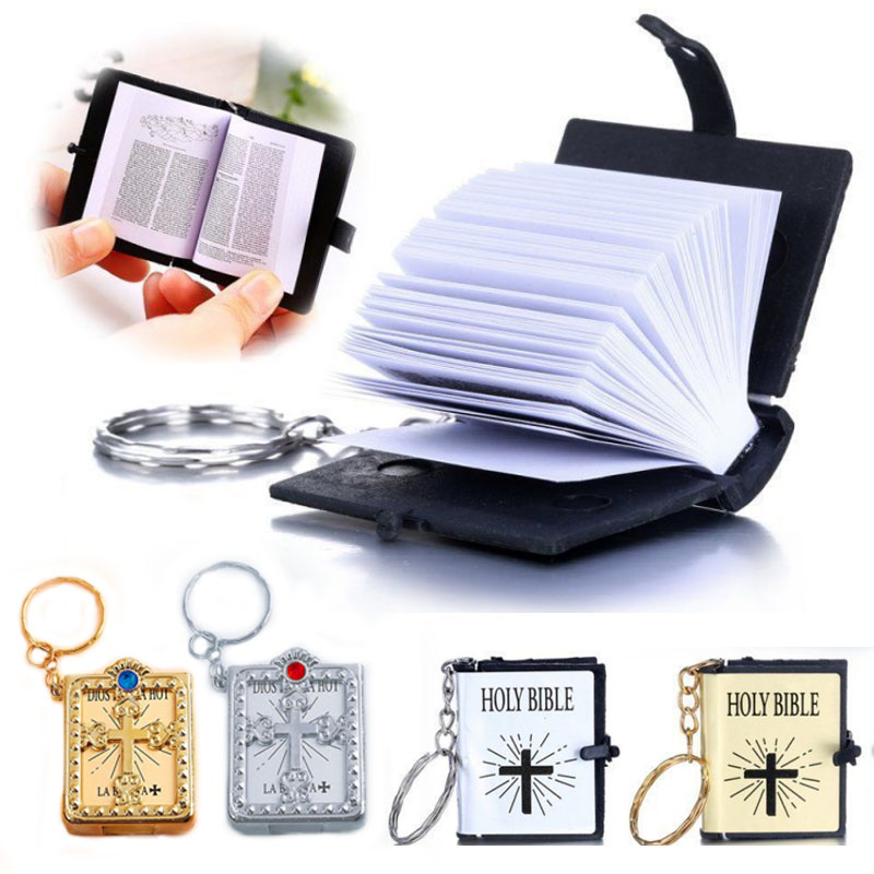 1pc Fashion  English Christian Bible Mini Keychains Keyrings Gift  Jesus Cross Religious Decoration Simulation HOLY BIBLE