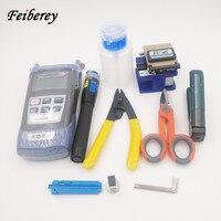 Free Shipping FTTH Fiber Optic Tool Kit Set with Fiber Cleaver Fiber Stripper CFS 3 Optical Power Meter Visual Fault Locator 1mW