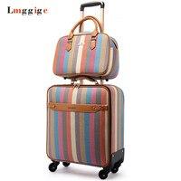 Women's colorful suitcase set,PU leather stripe pattern Luggage Bag, Fashion trolley Case, Universal wheel Box with handbag