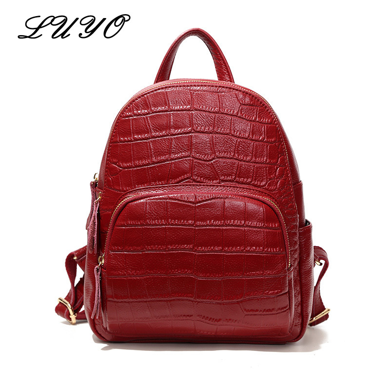 LUYO Genuine Leather Crocodile Stone OL Commute Women Fashion Feminine Designer Backpack For Girls Youth Laptop Sac A Dos Femme crocodile embossed pattern bright colour feminine genuine leather laptop backpack