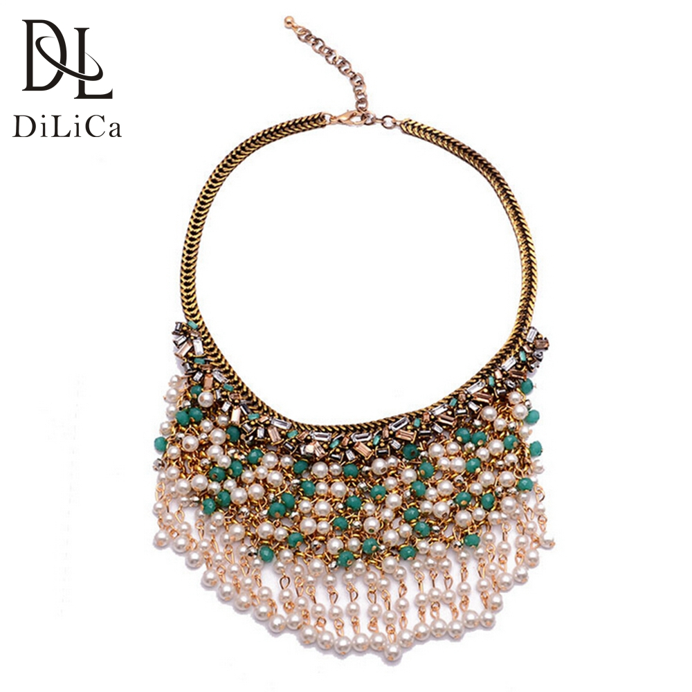 DiLiCa Fashion Chokers Necklaces for Women Imitation Pearl Beads Tassel Statement Necklace Bohemian Necklace Jewelry