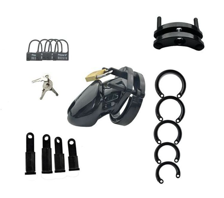 Male Chastity Device With 5 size Penis Ring,Black Cock Cage,Cock Ring,Virginity/Chastity Lock/Belt,Adult Game,Sex Toys,CB6000S