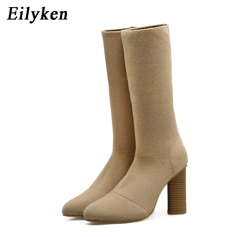 Eilyken Stretch knitting Women Ankle Boots Slip On Sexy Ladies Pointed Toe High Heels Shoes Woman Stretch Fabric Boot deweyer yoga rally belt men ladies fitness stretch stretch force strength striped grass green 18 lbs