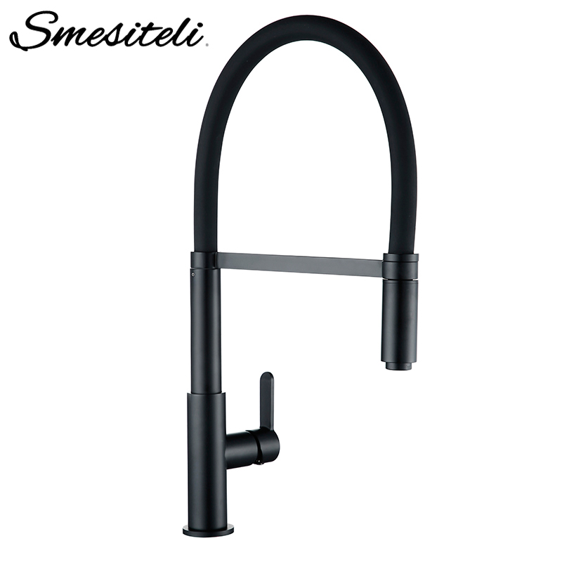Smesiteli Kitchen Faucets Round Matte Black Brass Single Handle Single Hole 360 Degree Swivel Mixer Sink Tap Pull Out Down Taps
