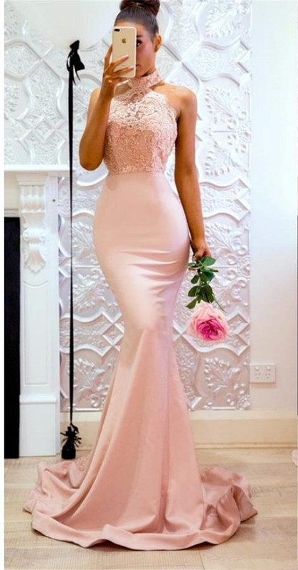 Pink 2019   Bridesmaid     Dresses   For Women Mermaid Halter Lace Beaded Backless Long Cheap Under 50 Wedding Party   Dresses