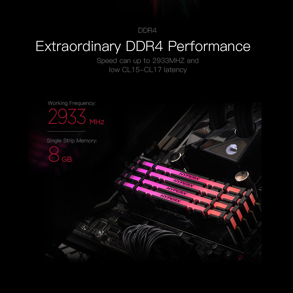 Kingston Technology HyperX RAM ddr 4 Black 8G 16G RGB 288pin 2933MHz CL16  DIMM 16G DDR4 Gaming RAM for Desktop Memory Rams