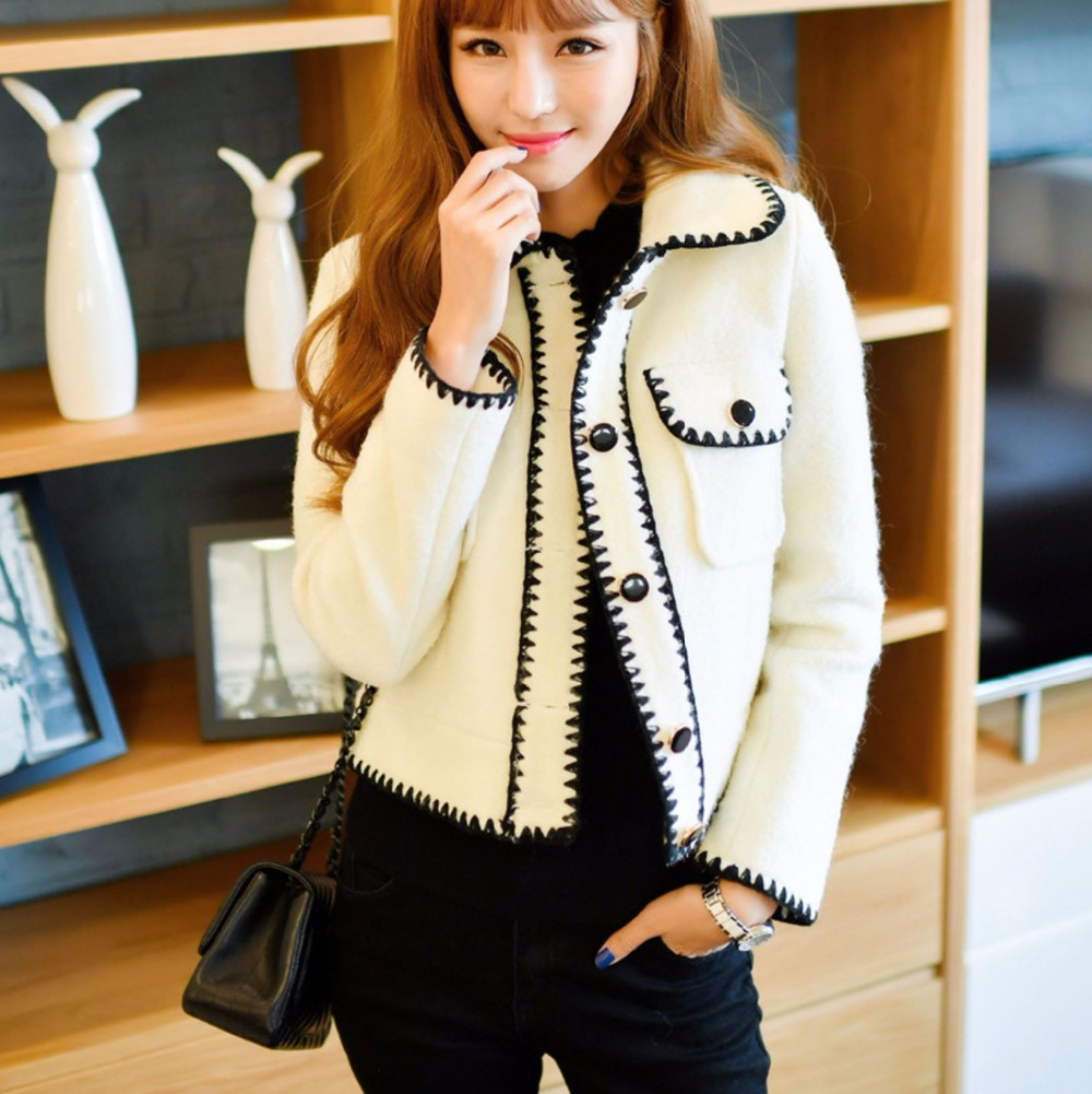Woman Autumn And Winter Short Wool Coats Long Sleeve Black And White Cute Jackets Office Lady Fashion Outwear High Quality in Wool amp Blends from Women 39 s Clothing