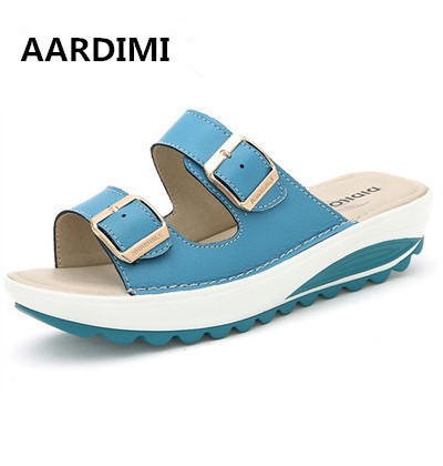 2017 Top quality Summer women sandals buckle genuine leather air platform shoes women wedges sandals gladiator women slippers phyanic 2017 gladiator sandals gold silver shoes woman summer platform wedges glitters creepers casual women shoes phy3323