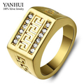 Etiqueta YANHUI marca verdadero 24 K Gold Filled Classic hombres anillo Rhinestone CZ del diamante del anillo para hombre anillo de compromiso joyería fina YR197