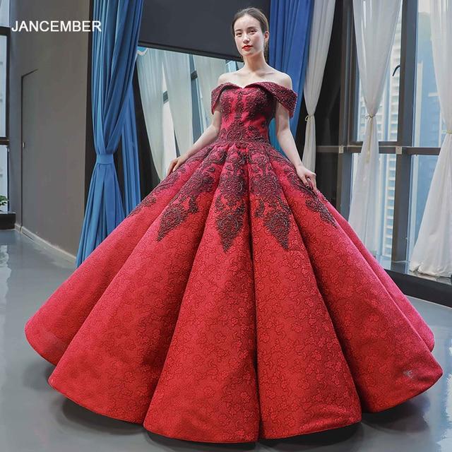 J66859 jancember inchado luxo vestido de noite 2019 querida vermelho frisado vestido de noiva vestidos vestido de noivado robe fiançaille