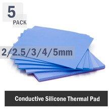 5Pcs 100x100mmThermal Pad 2mm 2,5mm 3mm 4mm 5mm CPU Kühlkörper Pad Kühl Leitfähige Silikon thermische Pad Weiß