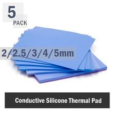 Almohadilla térmica de silicona conductora de refrigeración, cojín disipador térmico de 2mm, 2,5mm, 3mm, 4mm y 5mm, color blanco, 5 uds.
