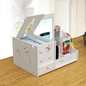 Image 2 - DIY עץ שולחן כתיבה מחזיקי עם מגירה ארגונית משרד נייר מחזיקי מכתבים ארגונית עץ אחסון תיבת שמחה פינה