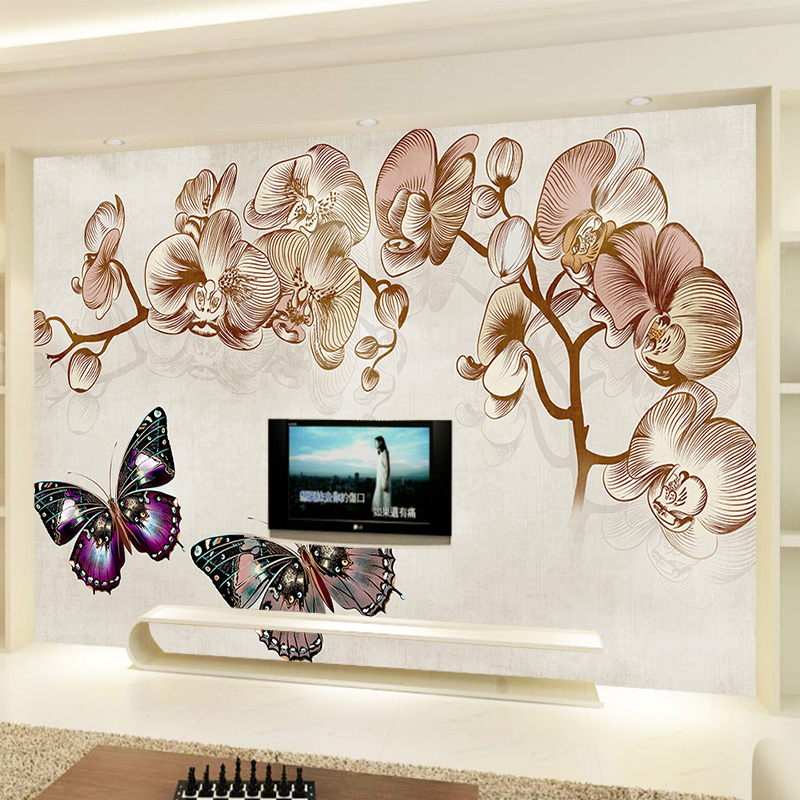 Custom Photo Wallpaper Mural Wall Sticker European Flowers Butterfly TV Wall3d wallpaper for room wholesale Home Decoration pink butterfly flower tree wall sticker for home room decoration waterproof removable decals