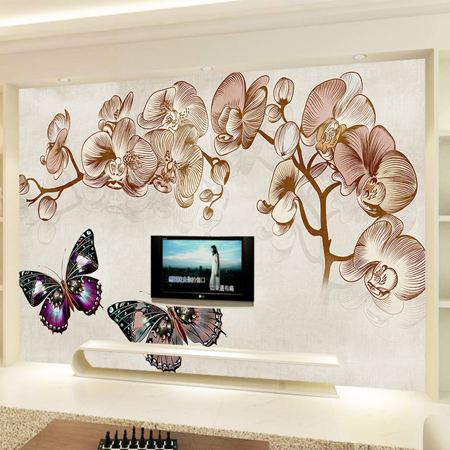 Custom photo wallpaper mural wall sticker european flowers butterfly tv wall3d wallpaper for room wholesale home