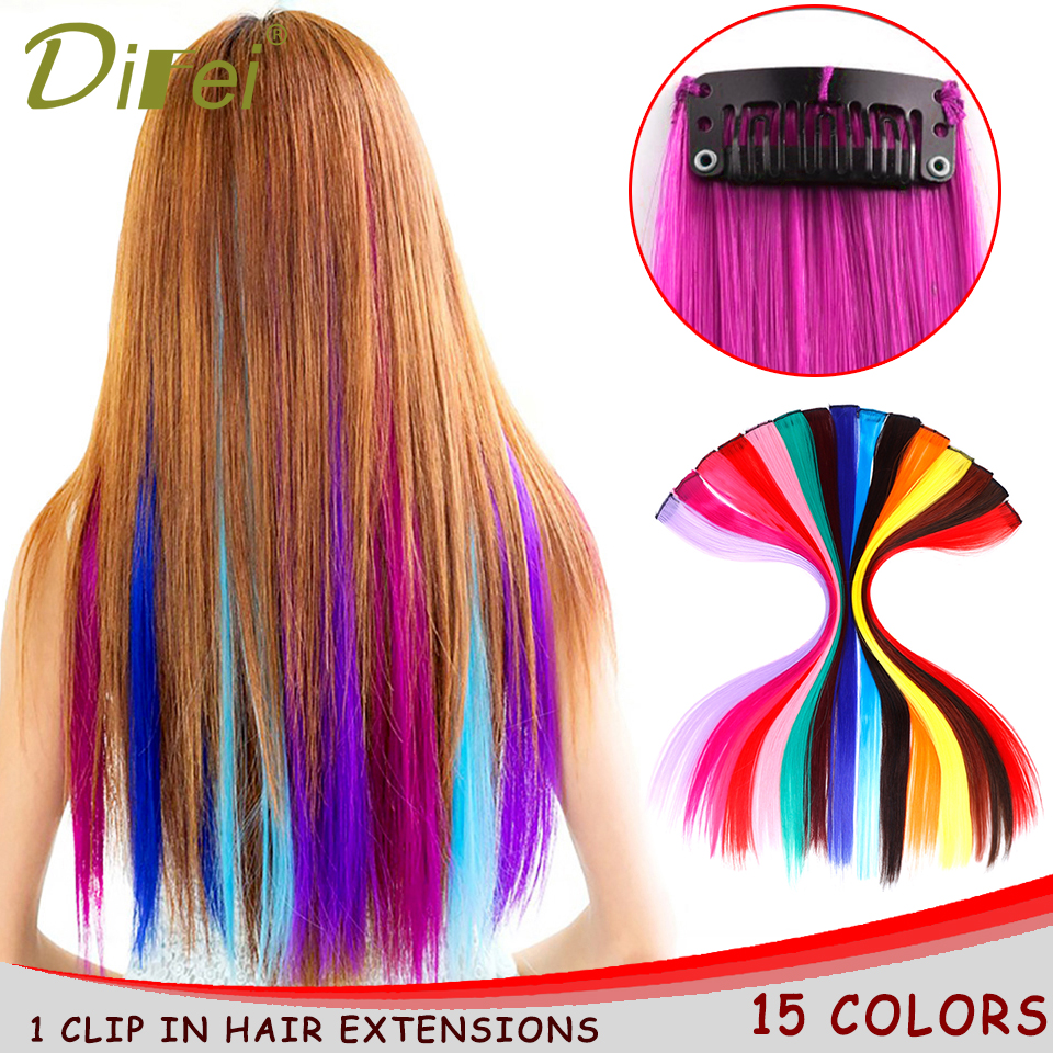 Hot Sale Difei 15 Colors 55cm Single Clip In One Piece Hair