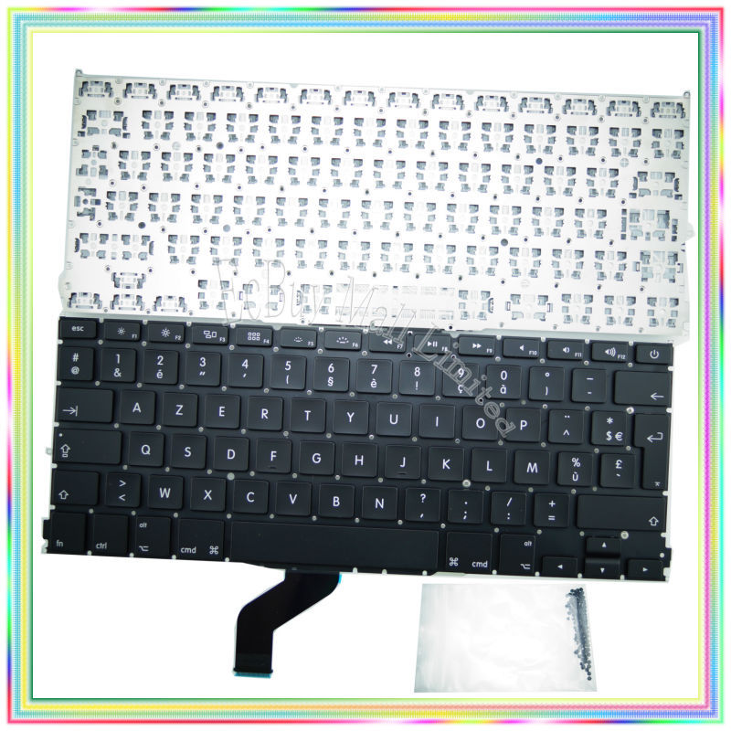 "Brand new AZERTY FR French France Keyboard without Backlight & keyboard screws for Macbook Retina 13.3 inch"" A1425 2012 Year"""