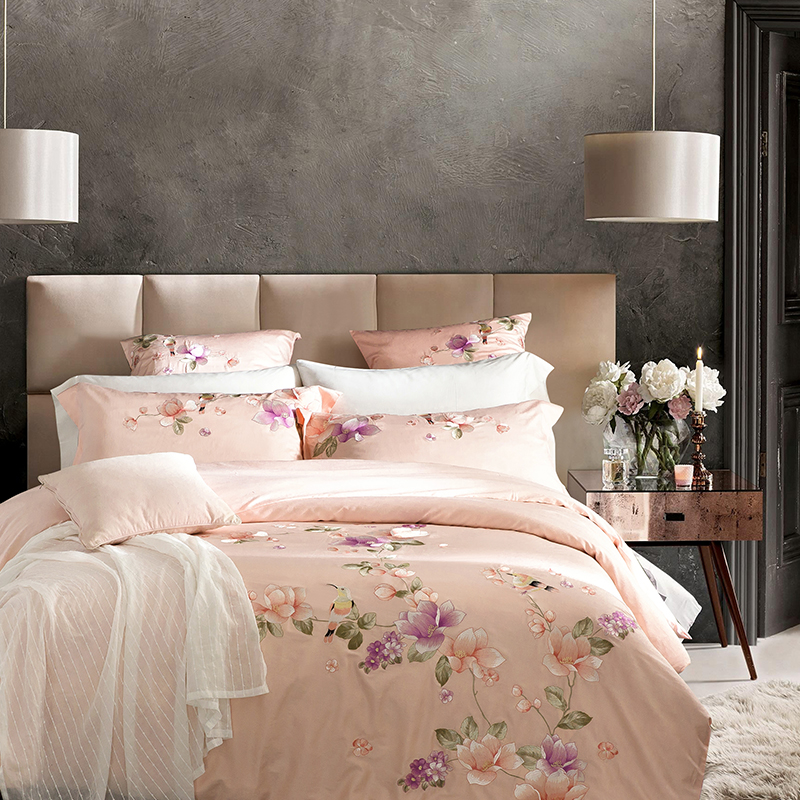 4 6PCS 100 Cotton bedding set Luxury 60S Sateen duvet covers King size bed linen Embroidery