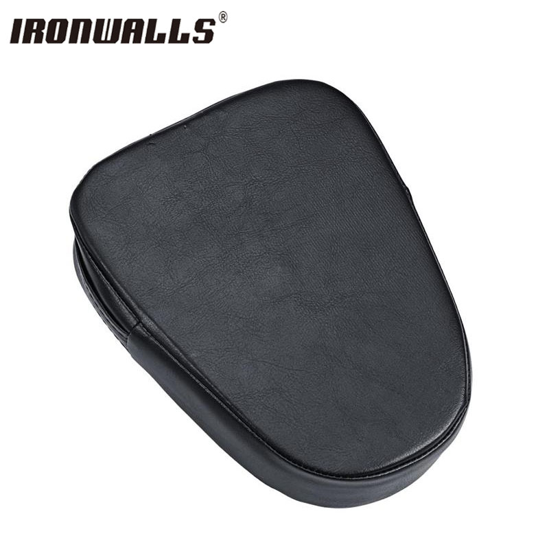 Ironwalls Universal Black Motorcycle Pillion Passenger Seat Faux Leather Seat Base For Harley Choppers