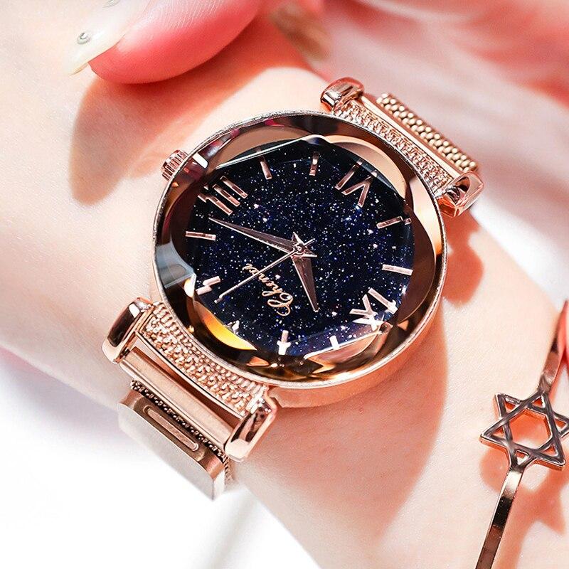 Relogio Feminino Luxury Fashion Starry Sky Women Watches Female Dress Magnetic Mesh Belt Quartz Wrist Watch Zegarek Damski