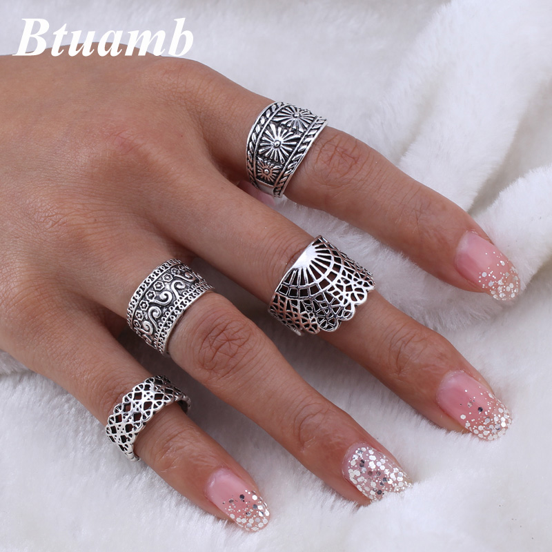 Btuamb 4 Pcs/Set Vintage Ethnic Flower Rings Antique Gold Silver Color Hollow Craved Knuckle Midi Finger Rings for Women Jewelry