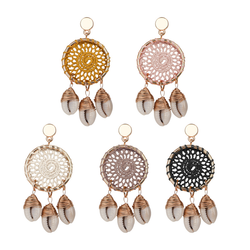 New Design Big Circle Shell Earrings For Women Boho Handmade Dream Catcher Shell Conch Long Dangle Earrings 2019 Beach Jewelry