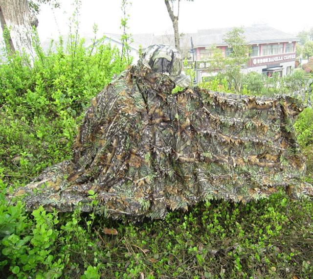 Cloak dress  Hunting clothes New 3D maple leaf Bionic Ghillie Yowie sniper birdwatch airsoft Camouflage Clothing jacket 2