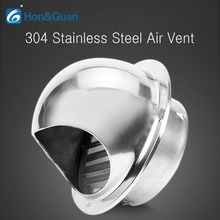 Hon&Guan 4 Inch / 6 304 Stainless Steel Round Air Grille Ventilation Cover Wall Vent Outlet (100mm or 150mm)