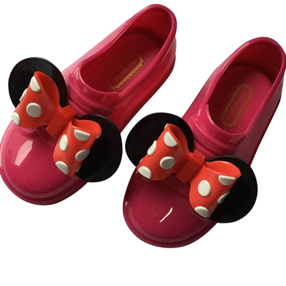 Mini Melissa No Shoelace Girls Sports Shoes 2018 Wave Point 2 Layer Bow Twins Mouse Flat Slip-on Kids Sandals New Summer Jelly