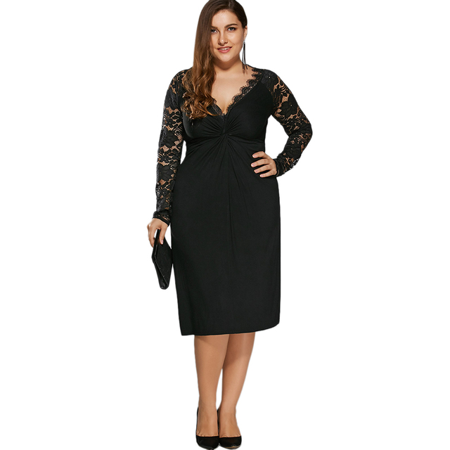 f09602bd1d7 Gamiss Women Black Holiday Formal Party Bodycon Sexy Dress Plus Size Twist  Front Lace Insert Fitted Dress Big Size XL-5XL