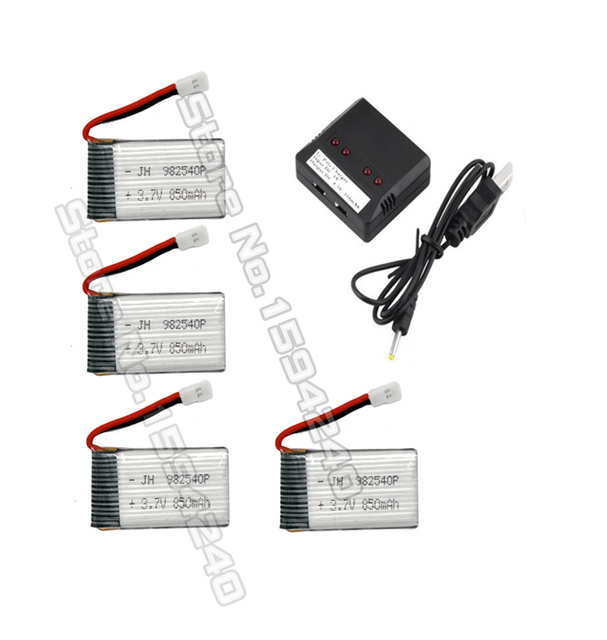 for syma X5C X5 X5A X5C-1 X5SC X5SW 4pcs Li-po Battery 3.7V 850mah Rc Quadcopter Spare Parts with 5in1 charger