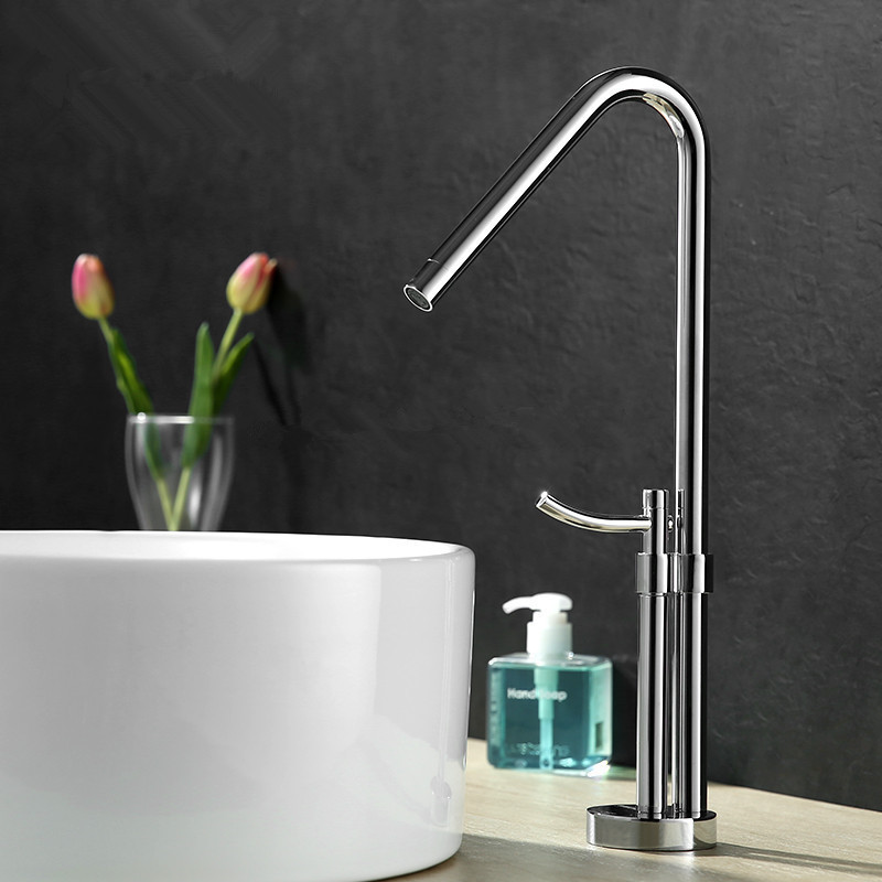 2017 New Arrival Elegant Design Brass Construction Chrome Finish High Body Bathroom Vanity Faucet Vessel Sink