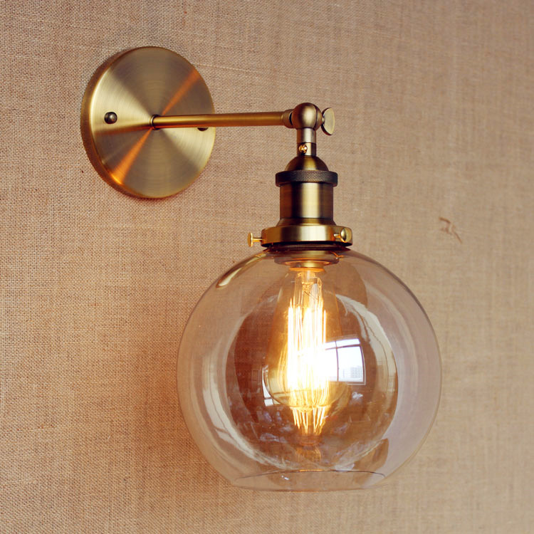 Ретро Винтаж Настенные светильники indoor Освещение Стекло мяч edison Стиль Лофт Промышленные бра рядом лампы аппликация светодиодный