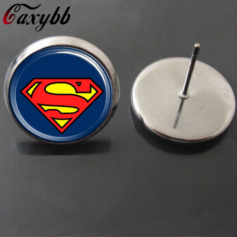 Superman super man earrings for women stud earring movies Christmas gift heart jewelry E165 new 2015 on earring