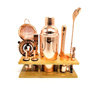 11pcs 750ML Cocktailshaker Hight Quality Shinny Stainless Steel British Cocktail Shaker Set Rose Gold Color