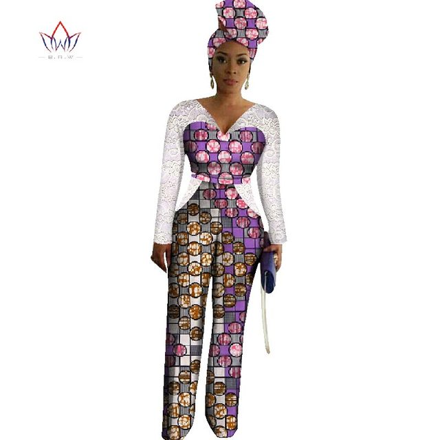 c331d4d6b941 2017 Womens African Jumpsuits Dashiki African Print Long Pants with Free  Head ScarfAfrica Style Plus Size Lace Clothing WY1867