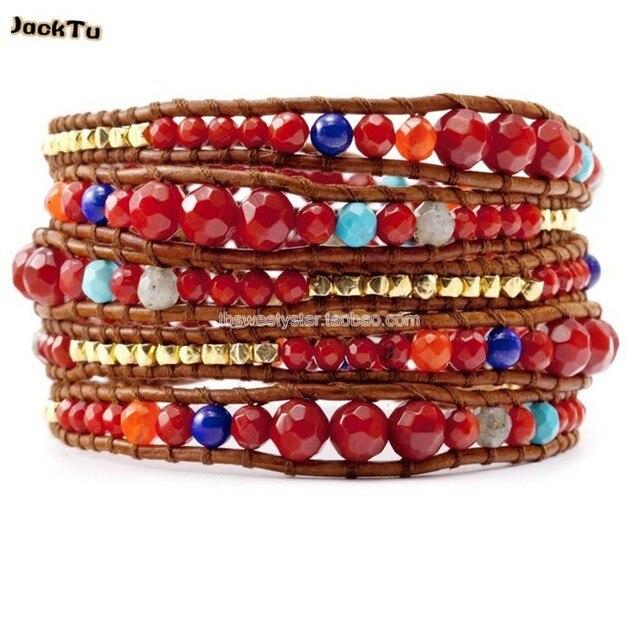 coral tuquoise lapis nuggets wrap bracelets