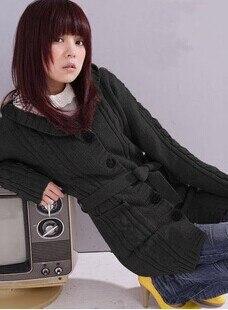 Акция, кардиганы, свитера для женщин, длинный стильный Теплый женский свитер, распродажа осенне-зимних курток, Серый кардиган - Цвет: Черный