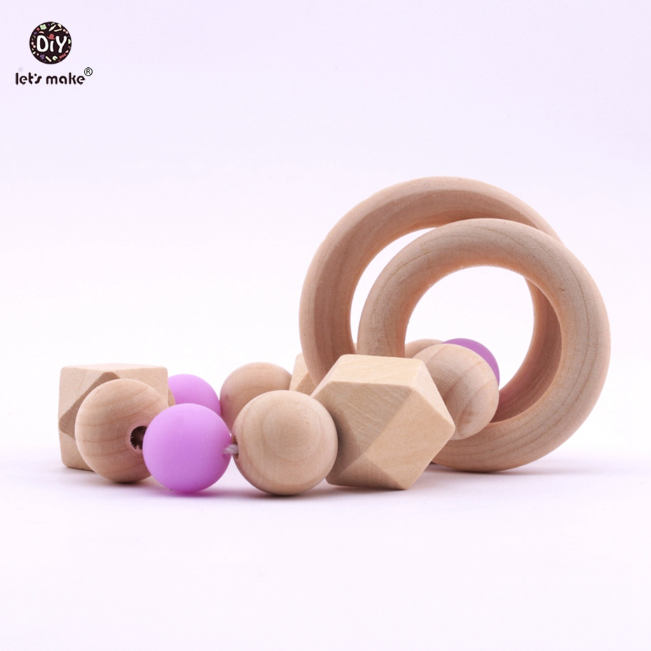 1pc DIY Wooden Bracelet Food Grade Materials Wood Ring DIY Crafts Accessories Nurse Gifts Baby Toys Teething Chewing Beads