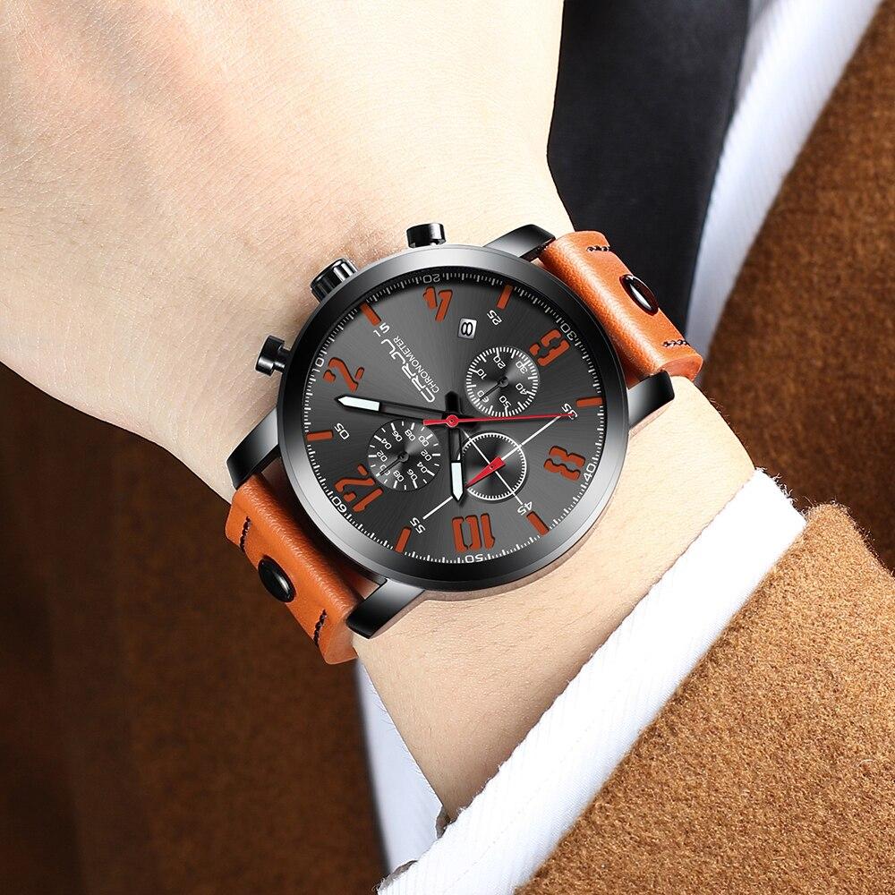 relogio masculino CRRJU New Brand Creative Quartz Men Watch Leather Chronograph Army Military Sport Watches Clock Men Date Reloj in Quartz Watches from Watches