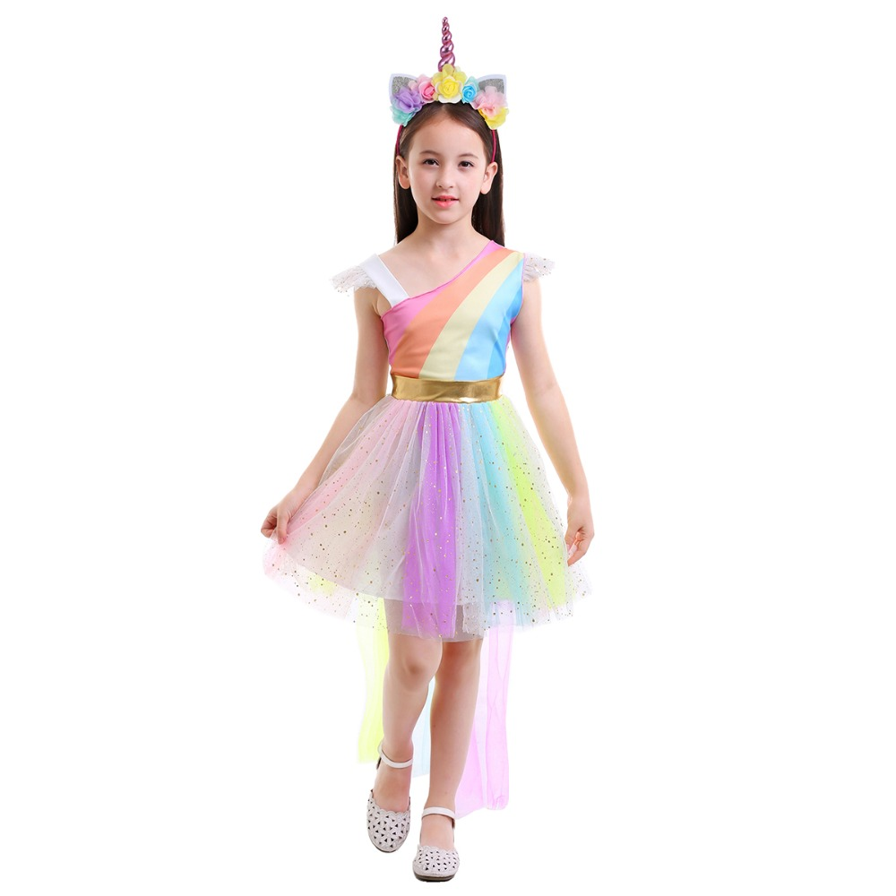 Unicorn Fancy Dress Up for kids Fashion Rainbow Dress Girls 2pcs Set Halloween Costume Cosplay Party Outfit Photography Clothes