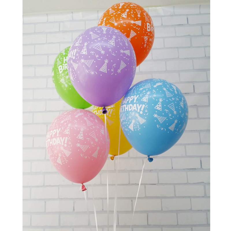 100pcs/lot New helium HAPPY BIRTHDAY balloon 12inch latex happy birthday printed