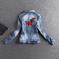 Flower Embroidery Denim Jacket Casual High Quality Fashion Spring Autumn 2017 New Arrival chaquetas mujer AE472