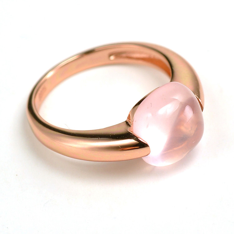 Anillo de cuarzo rosa cuadrado grande Natural joyería de plata de ley 925 Anillos de Compromiso de banda de boda para mujer-in Anillos from Joyería y accesorios    3