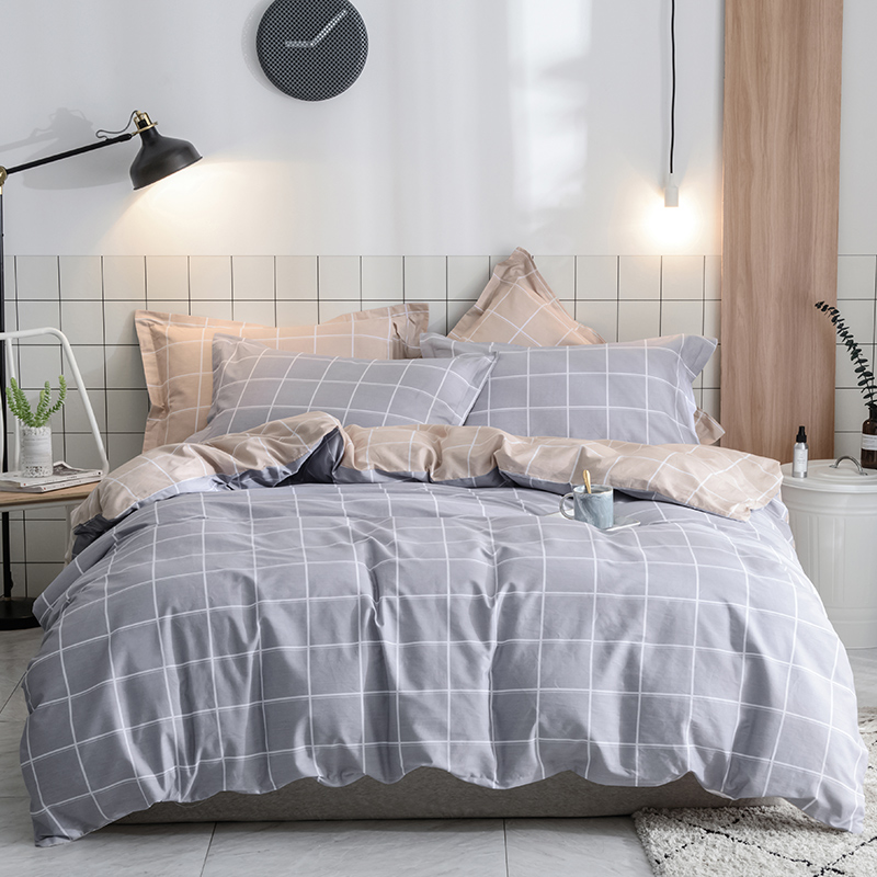 Simple Gray White Checked Pattern Sheet Pillowcase Bedding ...