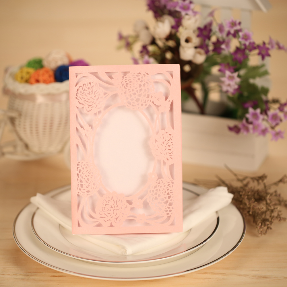 10pcs Laser Cut Wedding Invitation Cards Set with Envelope  Delicate Wedding Card Carved Flower Wedding Party Banquet Decoration 1 design laser cut white elegant pattern west cowboy style vintage wedding invitations card kit blank paper printing invitation