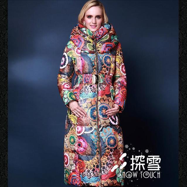 Plus size 5XL 2016 Mulheres jaquetas de moda para baixo casaco jaqueta de inverno das Mulheres outwear pato para baixo espessamento fino X-long coats
