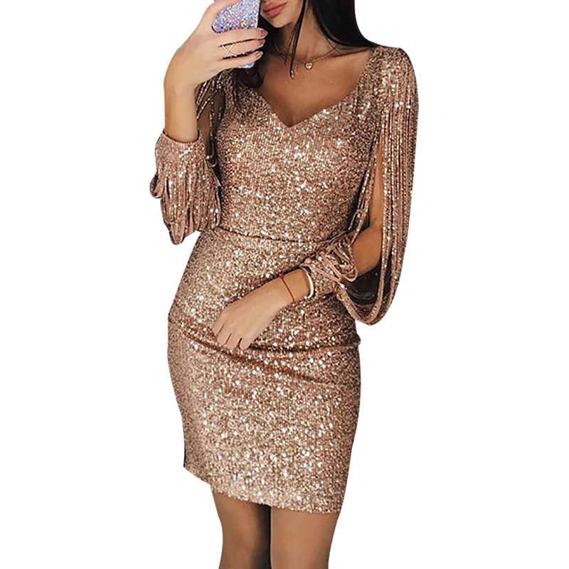 Kobiety sukienka Sexy dekolt w serek z długim rękawem cekiny błyszczące Bodycon Mini sukienka z krótkim rękawem Party wieczór urodziny kobiety sukienki