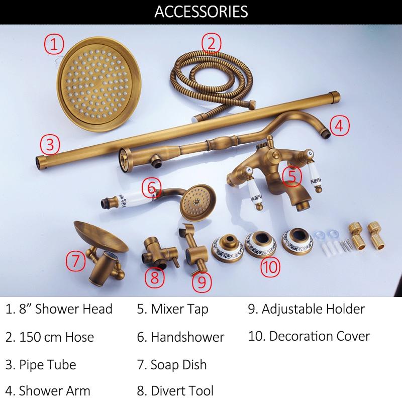 quyanre wanfan frap gappo antique brass shower faucets set 8 inch rainfall shower head 3 function brass mixer tap with ceramic handshower soap dish bathroom shower faucets2